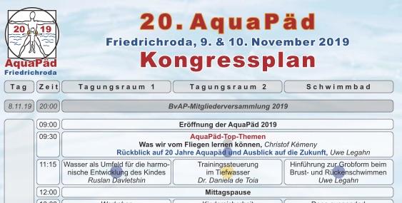 Zeitplan Aquapäd 2019